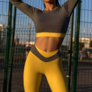 Rashguard Mini Gray Melanje & Yellow